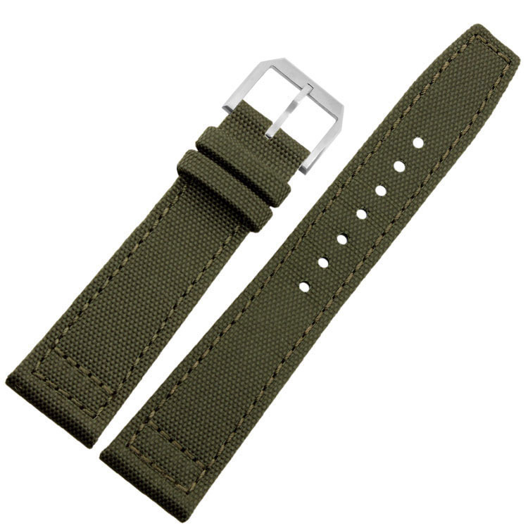 Leather Watch Strap 20mm 21mm 22mm Special Design Canvas Black Army Green With Pin Buckle цена и фото