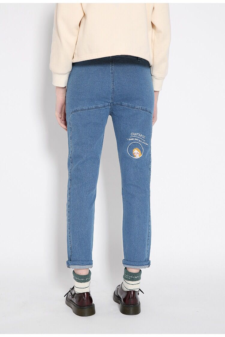 Spring Fall Women Denim Trousers Harajuku Ladies Pencil Pants Skinny Jeans For Female Low Waist Cartoon Embroidery Blue plus size pants the spring new jeans pants suspenders ladies denim trousers elastic braces bib overalls for women dungarees