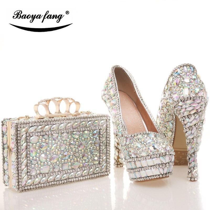 12cm Chaussures Bag Baoyafang Avec Brillant Les Bling New De Mariage Sac Bag Shoe With Ensembles Strass Sacs 14cm Cristal Bag À Haute 10cm Et Femme Femmes Main Assortis rgqSIg