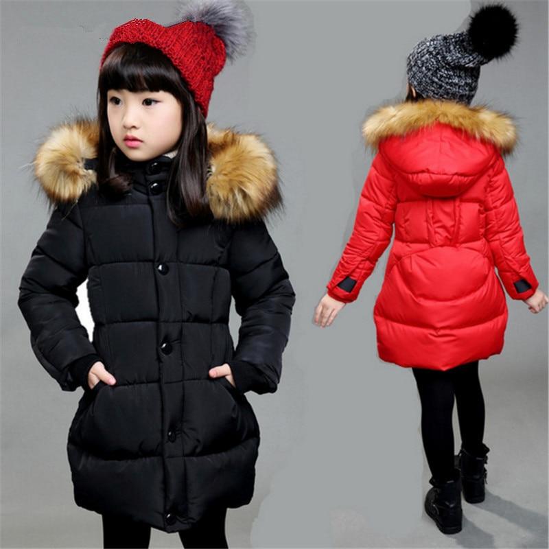 2017 Children Girls Winter Coats Cotton Padded Jacket Parka Outerwear Fashion Fur Collar Solid ...