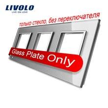Livolo Роскошный белый жемчуг кристалл стекло, ЕС стандартный, тройное стекла Панель для настенного выключателя и гнездо, C7-3SR-11(4 цвета