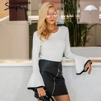 Simplee Sexy Flare Sleeve White Knitting Pullover Fashion Autumn Winter Sweater Women Tops Casual Soft Elastic