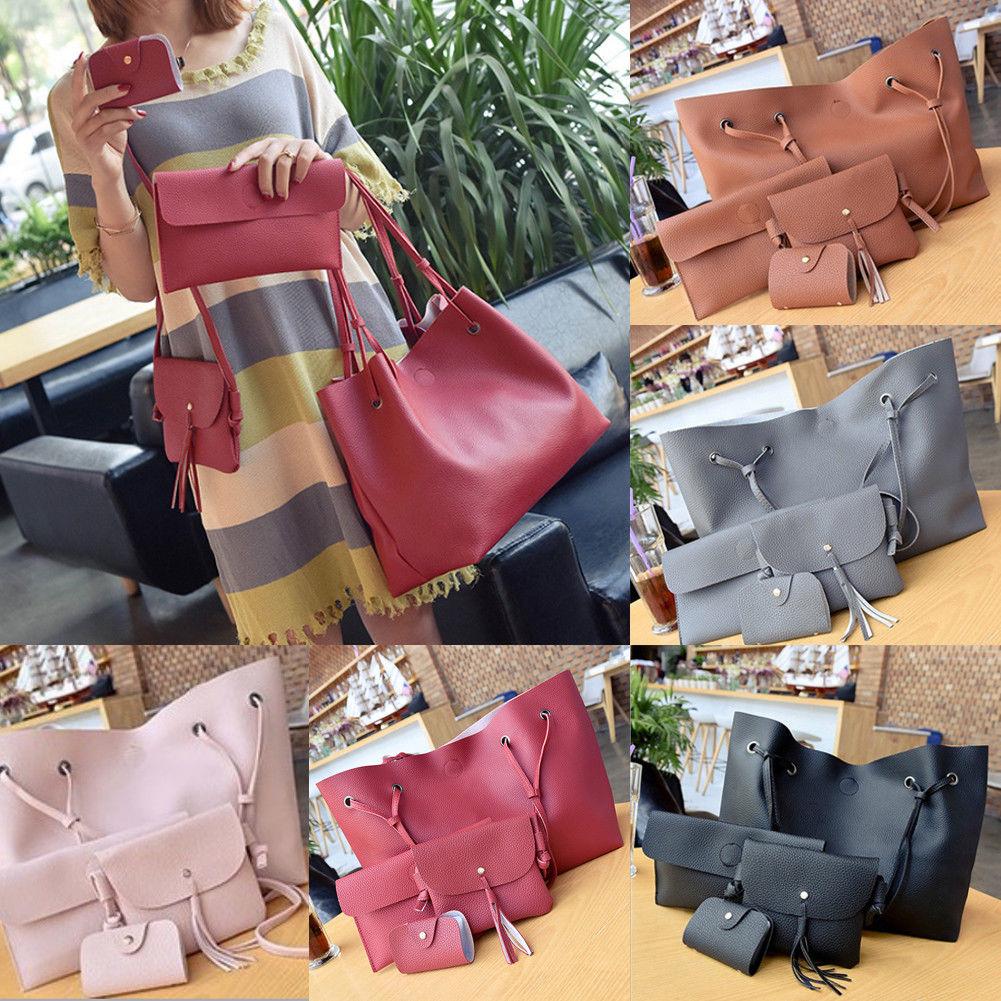 4Pcs Women Ladies Leather Shoulder Tote Purse Travel Bags Satchel Messenger Handbag Kit