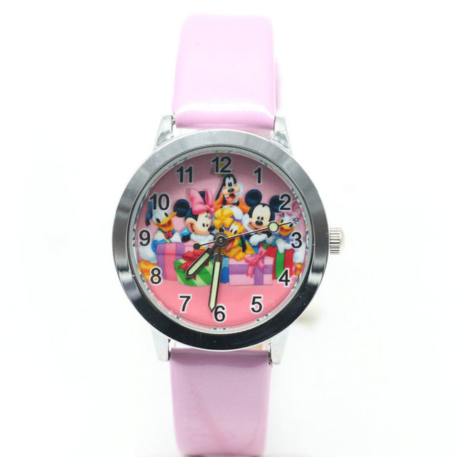 2018 new 1pcs kids leather watches children cartoon Mickey Minnie Clubhouse watc