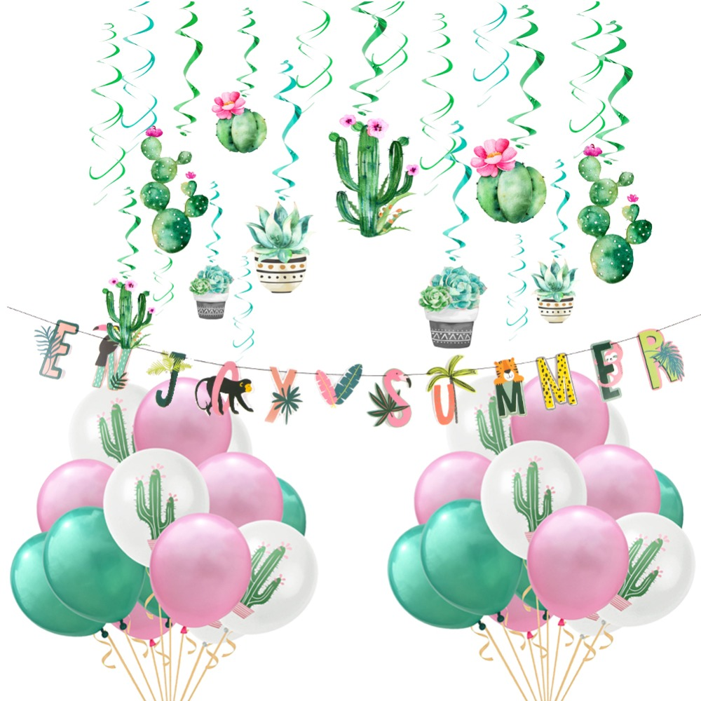 Enjoy Summer Cactus Party Decoration Set Balloons Foil Swirl Tropical Hawaiian Birthday Bridal Show Pool