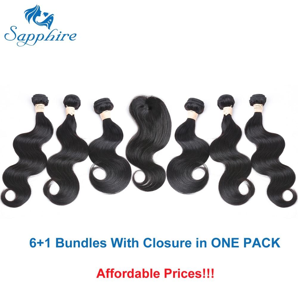 Sapphire Virgin Malaysian Body Wave Virgin Hair Bundles With Closure Human Hair Weaves 6 Bundles With