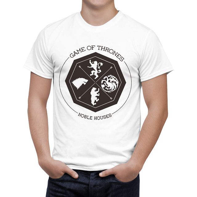 Game Of Thrones Winterfell King In North Wolf Print Casual Fashion Men's T-shirt