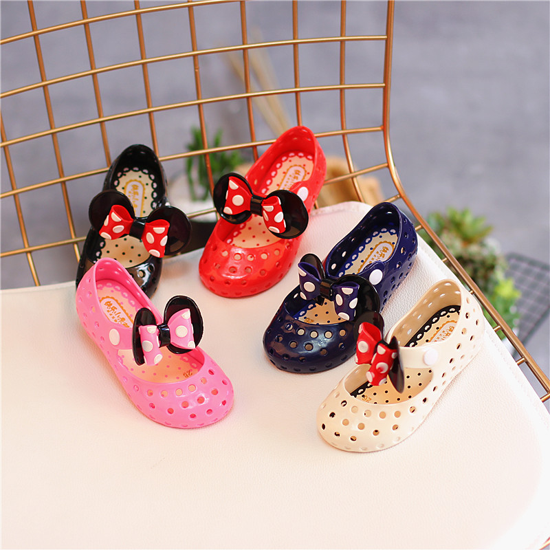 Mini Melissa Mickey Bow Jelly Sandals 2018 New Girls Sandals Breathable Jelly Children Shoes Sandals Princess Shoes 13cm-15.5cm