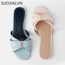 цены SUOJIALUN 2019 Brand Women's Slippers Summer Beach Casual Flip Flop Flat Heel Slippers Ladies Slip On Outdoor Sandal Slides