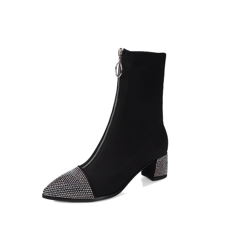 Bottes Noir Chaussures Bout Femmes Fashionshoes Talons Automne Bottillons Noir Cheville À Rose Pointu Nouveau Rouge Stretch Lycra 2018 rose BqTIAa