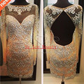 Real Photo Short Shiny Crystal Cocktail Dresses With Long Sleeve Open Back Champagne 2016 Custom Fit Tulle Party Homecoming Gown