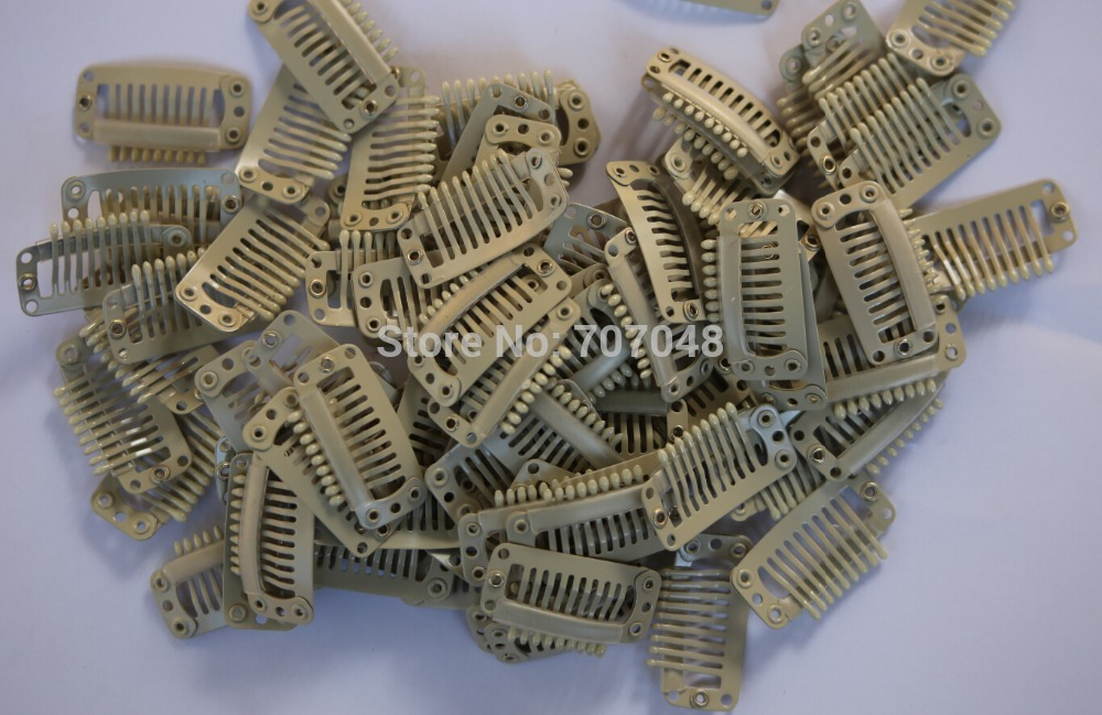 Free shipping 20pieces/lot Beige color 9-teeth Large Hair Clips Wigs Clip hair extension ...