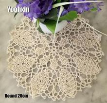 Modern cotton round placemat cup coaster mug kitchen Christmas table place mat cloth lace Crochet tea coffee doily dining pad