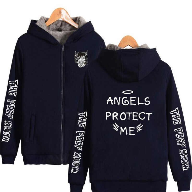 Chaqueta de bombardero para hombre 2018 lil peep Sudadera con capucha de invierno grueso abrigo con cremallera de Polar para hombre chándal deportivo para hombre streetwear