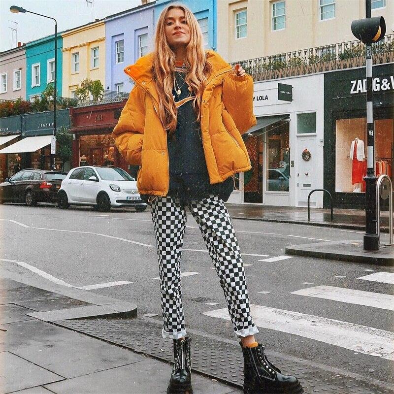 InstaHot Plaid Zipper Checkered Straight Pants Women Fashion Casual Slim Pockets Long Pants Black White Pencil Pantalon Femme 13