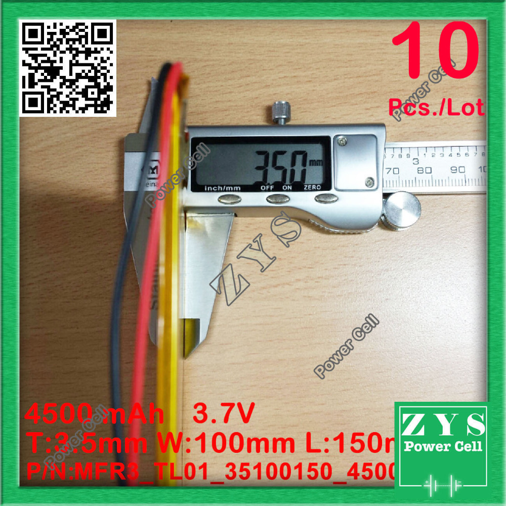 10pcs/Lot 35100150 3.7V 4500mah Lithium polymer Battery with Protection Board For PDA Tablet PCs Digital Products 3.7 V 4500 mAh safetypacking level4 5pcs rechargeable lipo battery cell 3 7 v 8873130 10000 mah tablet battery brand tablet gm lithium polymer