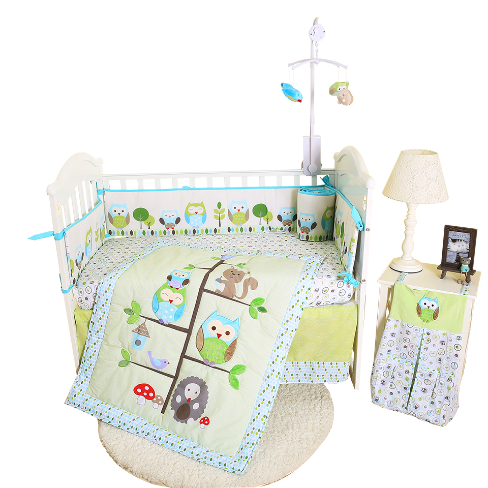 wholesale 6pcs newborn baby embroidery crib cot bumper bedding set designer fabric cotton cartoon printed owel on the tree