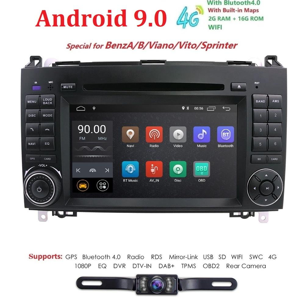 Ossuret Android 9.0 Car DVD Player Stereo 2 Din for Mercedes Benz B200 A B Class W169 W245 Viano Vito W639 Sprinter W906 WIFI BT