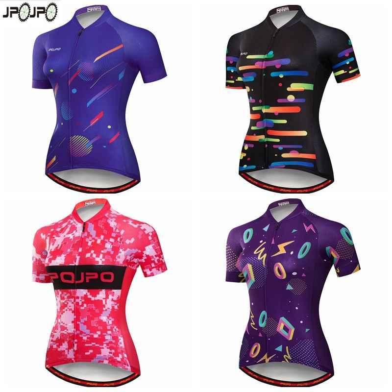 JPOJPO Велоспорт Джерси Женский pro team MTB велосипедный костюм, трико Ciclismo Лето короткий рукав велосипед костюм для велоспорта из шерсти фиолетовый розовый