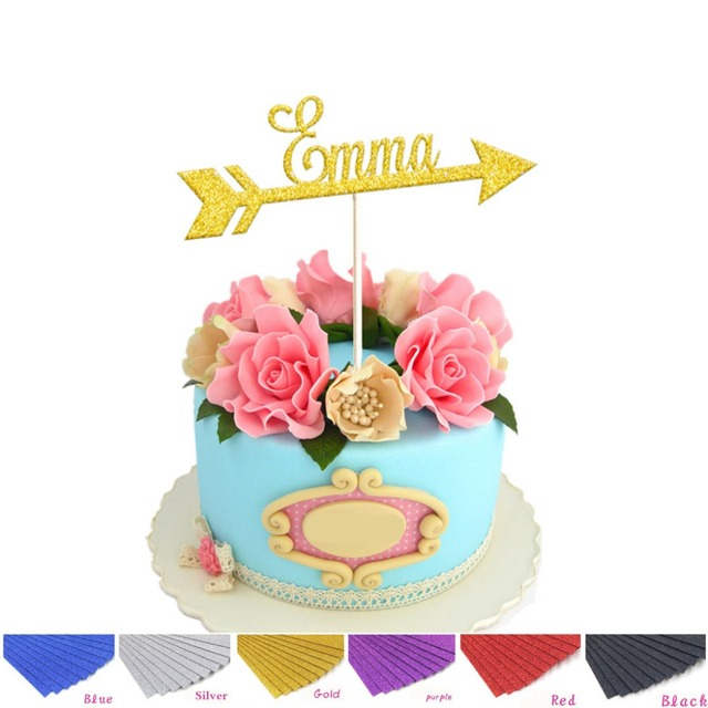 1pcs Personalized Custom Gold Glitter Name Cake Topper With Arrow