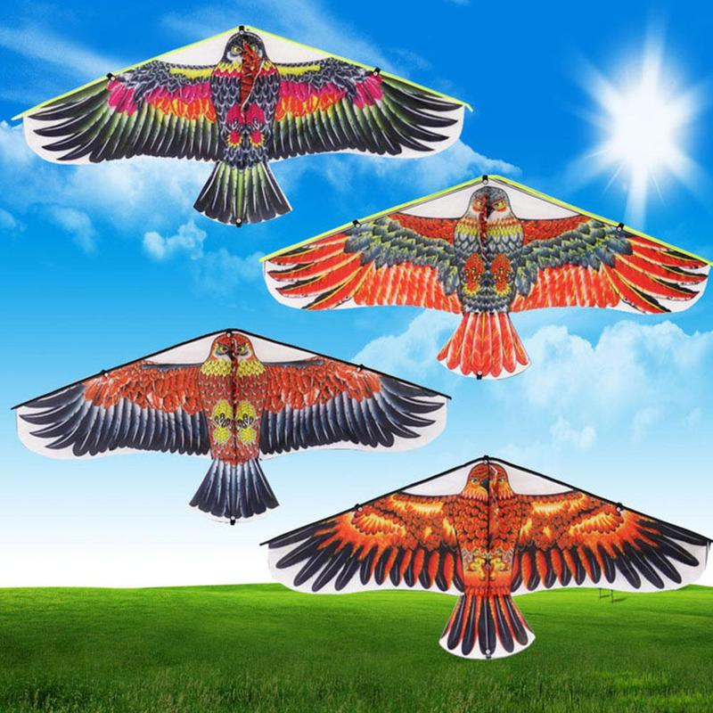 1m Triangle Hawk Kite Toy Flat Eagle Kite Big Fly Bird Toys For Children Flying Bird Kites Windsock Outdoor Toys For Kids