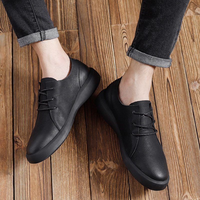 Image 3 - Genuine Leather Shoes Men Leather Sneakers Flats Design Style Men Shoes  Loafers Lace Up Walking Casual Shoes Men Big Size 37 47-in Men's Casual Shoes from Shoes