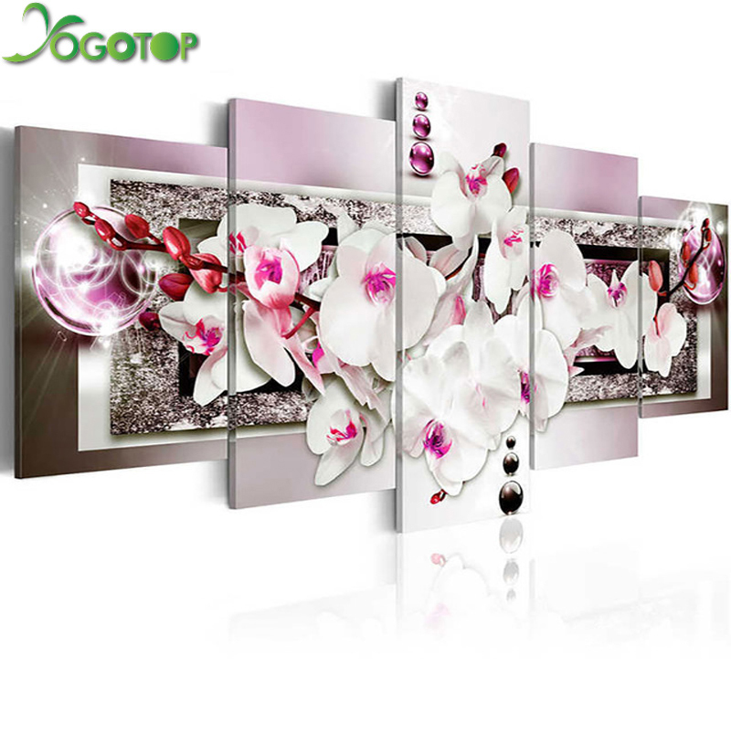YOGOTOP FAI DA TE Diamante Pittura A Punto Croce Kit Piena Ricamo Diamante 5D Diamante Mosaico Home Decor fiore di Magnolia 5 pz ML235