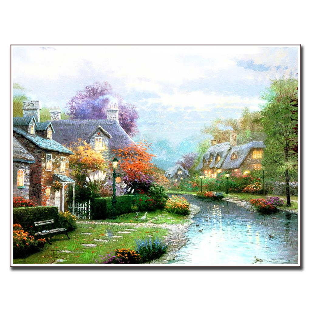 Online buy wholesale mediterranean villages from china for Oil painting scenery