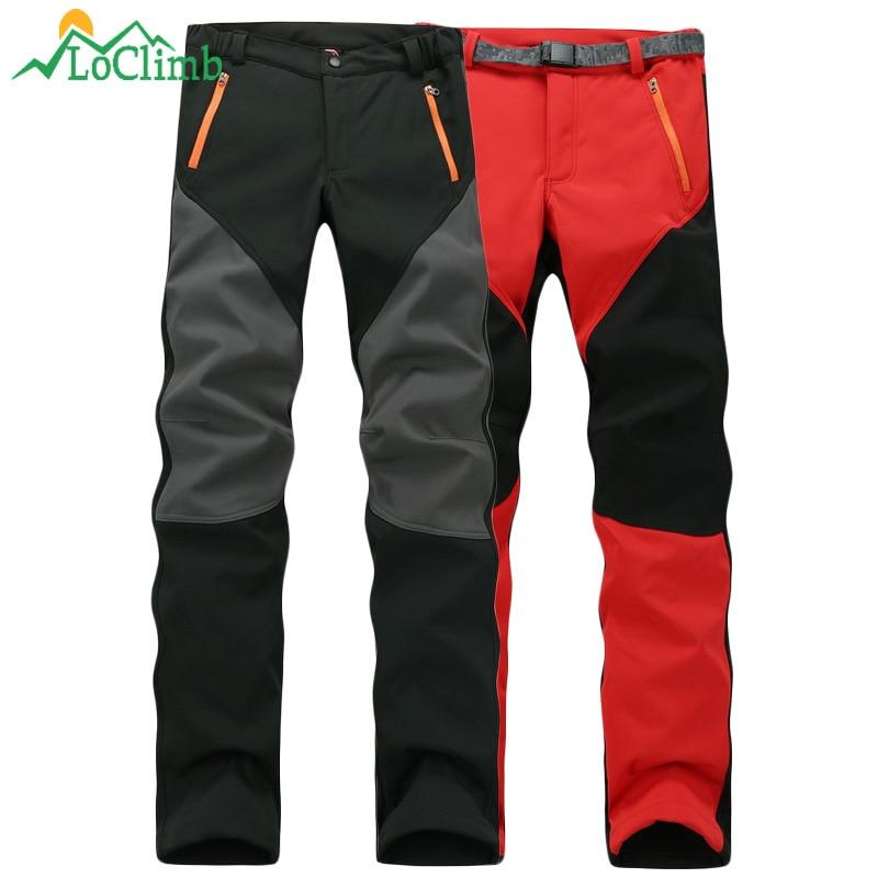 LoClimb 2018 חורף צמר Softshell מכנסיים גברים נשים חיצוני טרקים טיפוס ספורט מכנסיים טיולי סקי עמיד למים מכנסיים, AW085