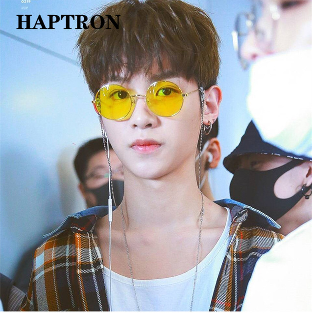 HAPTRON Retro Round Sunglasses Men Women 2018 Brand Designer Luxury pink Green Yellow Black Shades SunGlasses UV400 oculos