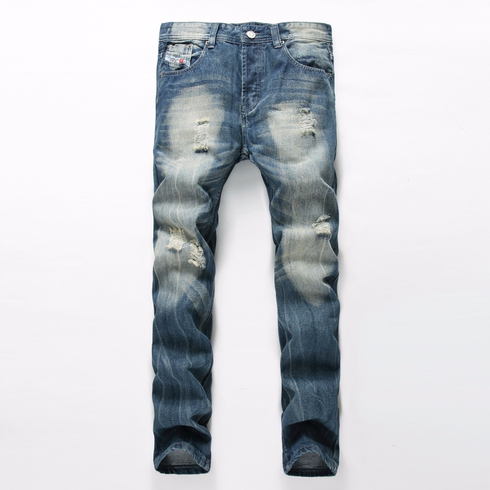 2018 New Arrival Large Size 38 Men Jeans Ripped Loose Hip-hop Cotton Jeans Men ripped Designer Brand White Jeans