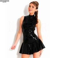 High O Neck Sexy Lady Super Mini Skirt Sexy Lingerie Hot Leather Elastic Bodydoll Bar Clubwear