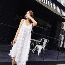 Женское летнее платье на бретельках с бахромой, Макси платье с v-образным вырезом, свободное шифоновое платье, белое платье нестандартной длины