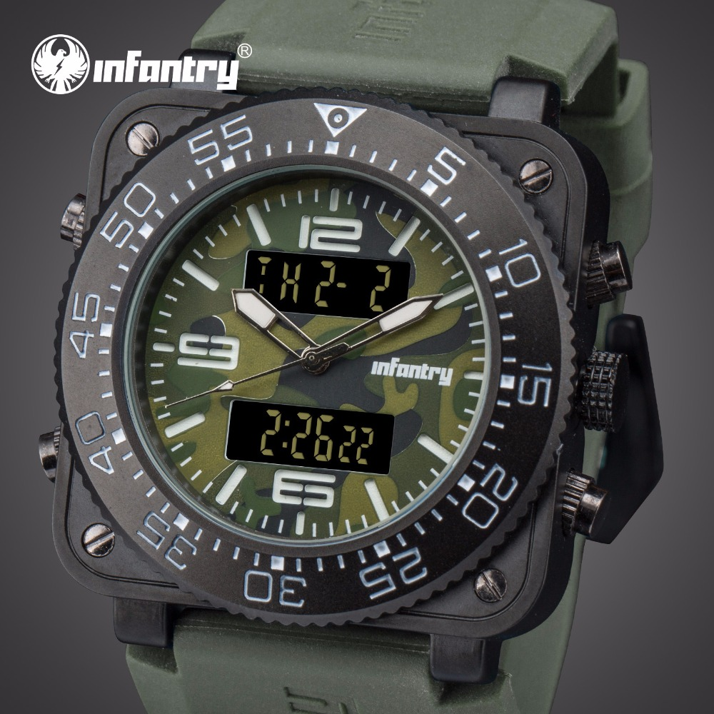 INFANTRY Mens Watches Top Brand Luxury Analog Digital Military Watch Men Watches for Men Tactical Field Square Relogio Masculino infantry mens watches top brand luxury chronograph military watch men luminous analog digital watches for men relogio masculino