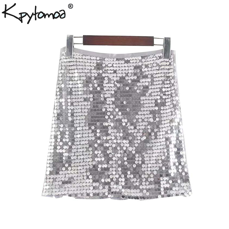 Vintage Sexy Shiny Sequined Mini Skirt Women 2019 Fashion A Line Side Zipper Ladies Party Skirts Casual Faldas Mujer