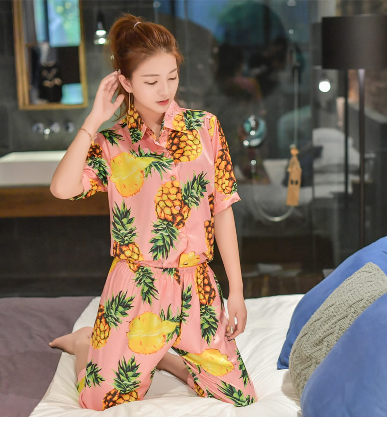 New Fashion Summer Fall Pineapple Printed Short Sleeve Pajama Sets Silk  Sleepwear Women Loose Home Clothing Pants Suit Nightwear-in Pajama Sets  from ... e954223c8