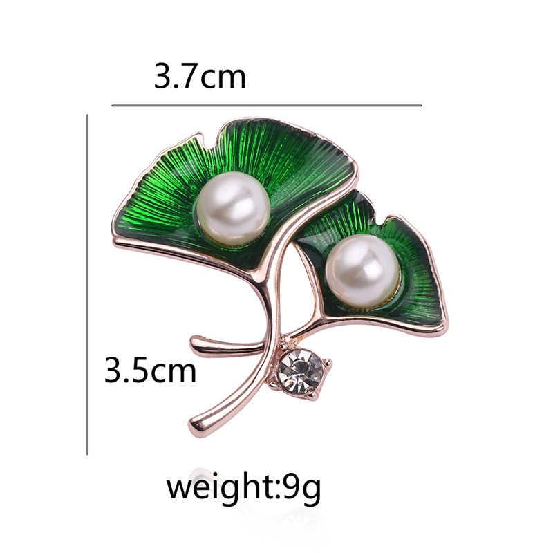 Nouvelles broches colorées feuille verte élégant naturel blanc perle broches broche pour les femmes émail épinglette mode broche bijoux
