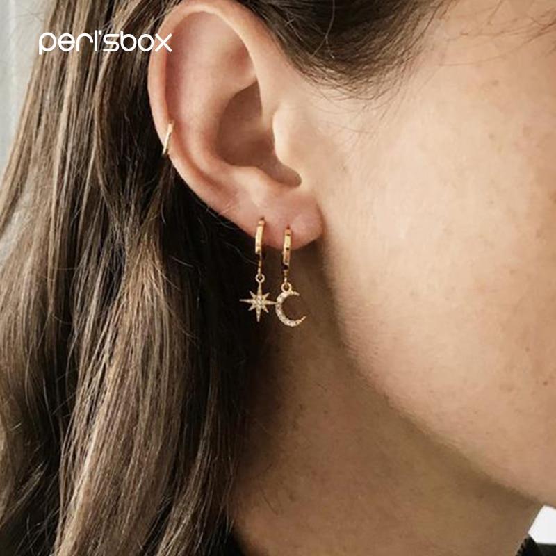 Peri'sBox Cubic Zirconia Stardust Moon Huggie Hoop Earrings For Women CZ Star Charms Small Hoops Dainty Asymmetrical Earrings