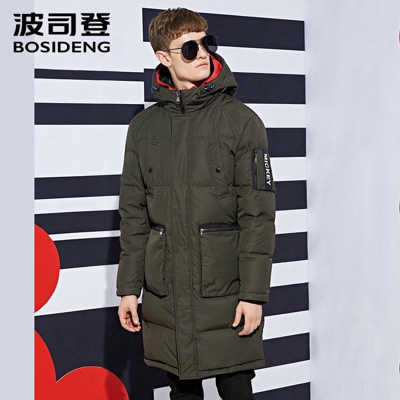 BOSIDENG Long Winter Duck Down Thick Jacket Top Quality Black Down Parkas Long Down Coat warm outwear pockets Mickey B1601127