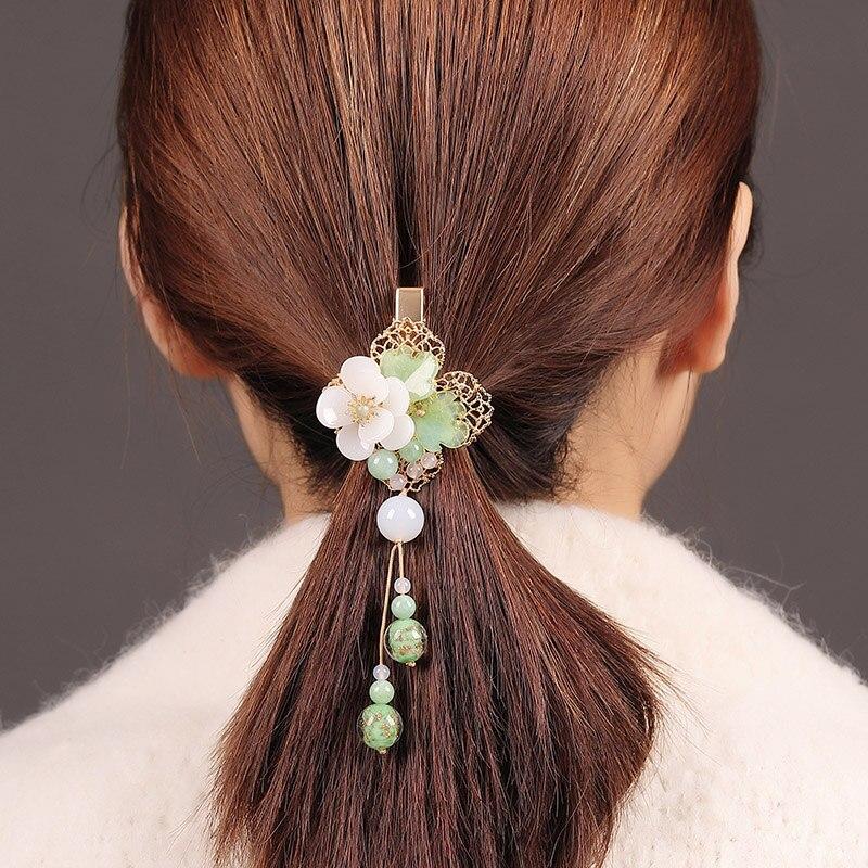 Fine couleur glaçure fleur gland épingle à cheveux chinois accessoires de cheveux bijoux cheveux à la main Barrettes Vintage pince à cheveux