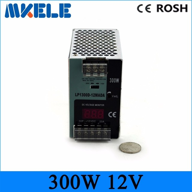 Cooling Aluminum shell easy mounting high reliable LP-300-12 300W 12V 25A din rail switching power supplies digital show voltage