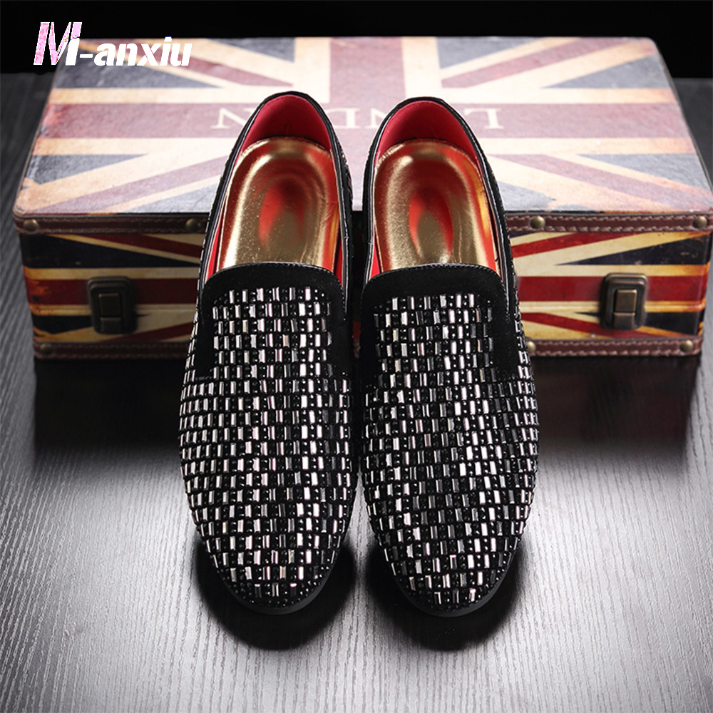 M anxiu 2018 Men Rhinestone Pointed Toe Flat Rubber Sole Shine Shoes Fashion Formal Dress Loafer Breathable Soft Shoes