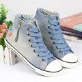 2017 весна плоским дном женщин джинсовые высокой холст обувь женская обувь повседневная цветочные моды жан размер обуви 36-40