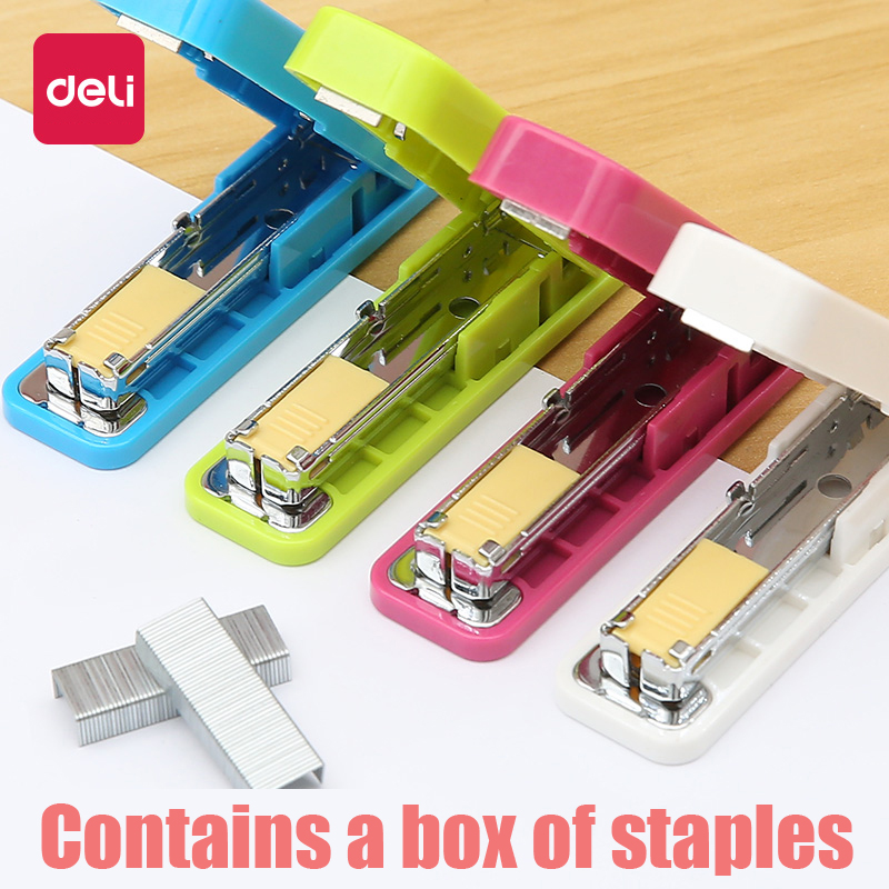 Deli Geometric Manual Stapler No. 10 Silver Staples Set Mini Kawaii Staplers Stationery Office Accessories School Supplies 0250