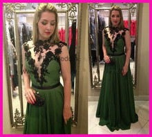 2014 New Design Green Appliques High Vestidos De Long Formal Evening Dresses See Through Women E5561