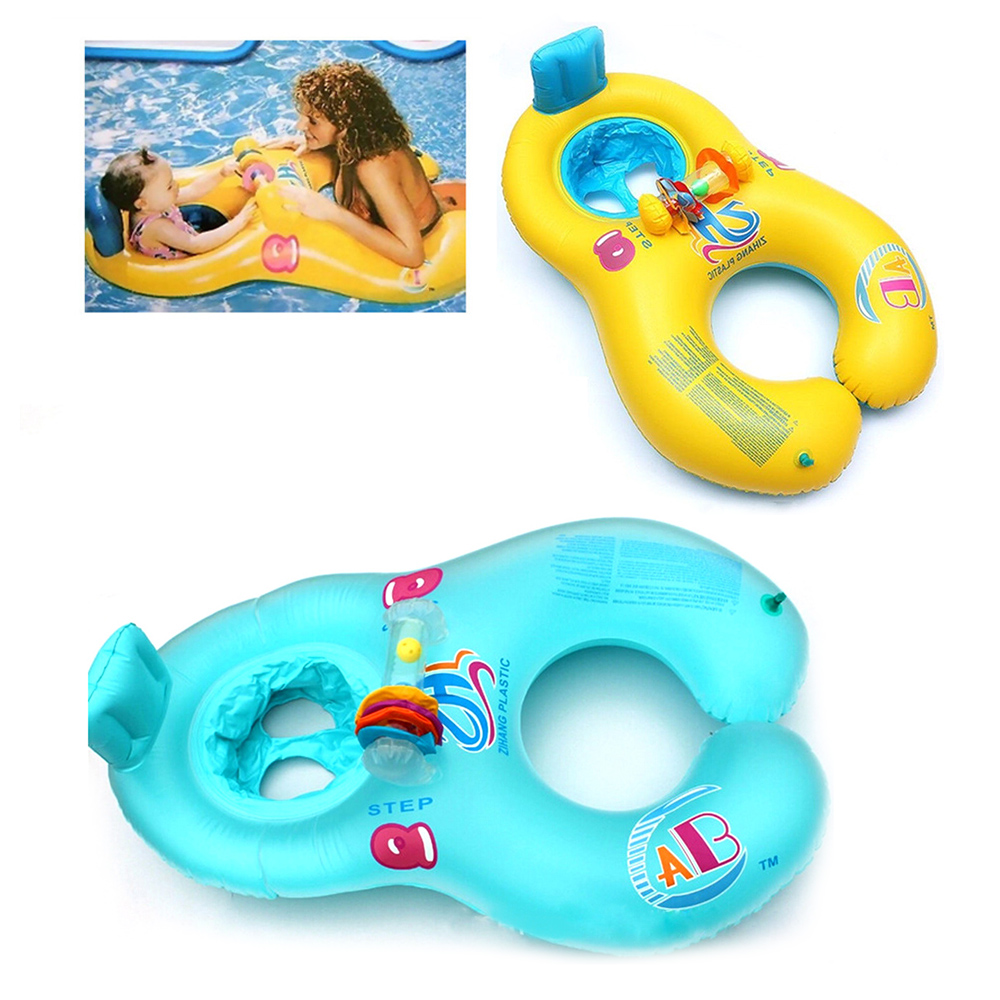 Mother Baby Swim Float Ring PVC Swimming Circle Baby Seat Rings Double Swimming Rings Inflatable Seat Raft Child Safety Tool