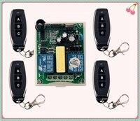AC 220V RF 2CH Wireless Remote Control 1pcs Receiver 4pcs Transmitters Tubular Motor Garage Door Projection
