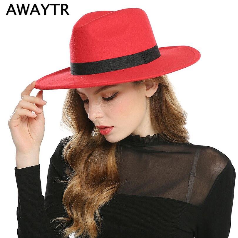 AWAYTR Moda Superstar Outono Aba Larga Chapéus De Feltro de Lã Do Vintage  Mulheres Homens Fedora 40b9a9df3ff