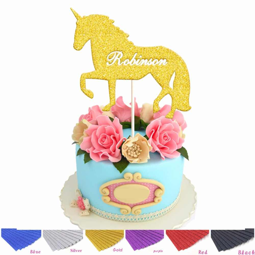 Fine Personalised Silver Gold Unicorn Cake Topper Custom Name First Birthday Cards Printable Trancafe Filternl