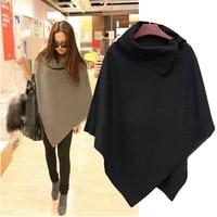 New Women Fashion Cape Poncho Cloak Coat Tops Jackets Outwear Overcoats Gray Black